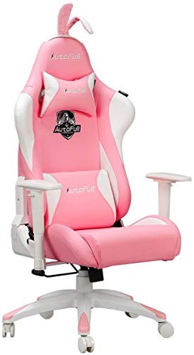 AutoFull Pink Gaming Chair PU Leather...