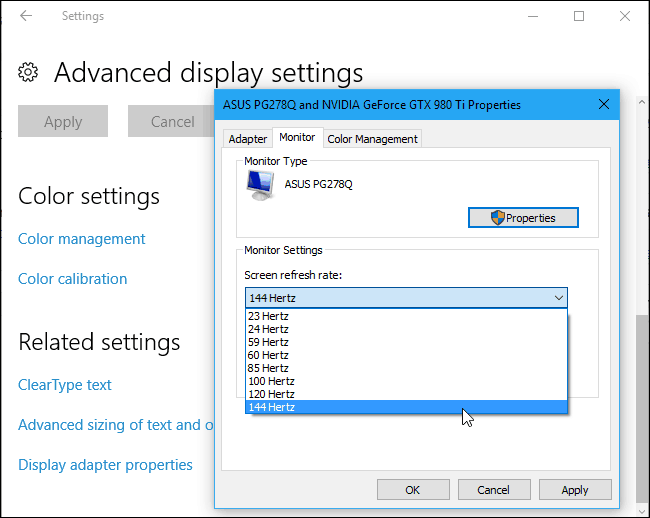Make sure that you will select 144Hz to 60hz